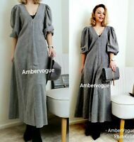 Zara New Grey Midi Long Flowing Dress Size XS UK 6 8