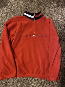 Vintage Tommy Hilfiger 1/4 Zip Spellout Fleece Pullover Sweater