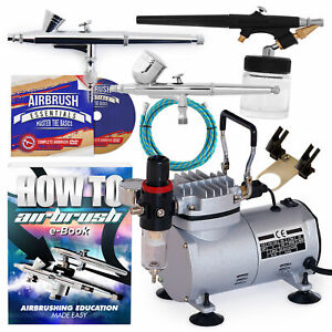 New Dual Action Airbrush Kit with 3 Guns