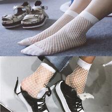 Women White Fishnet Ankle High Socks Lady Mesh Lace Fish Net Short Socks FT