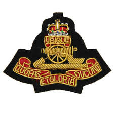 ROYAL ARTILLERY RA EMBROIDERED NAVY OFFICERS CLOTH CAP BADGE