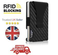 Slim Carbon Fiber Credit Card Holder RFID Blocking Men Metal Wallet Money Clip