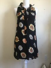 brandy melville black collared button front sunflower tank dress NWT