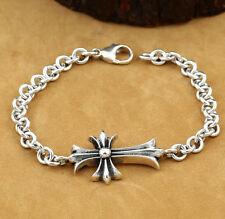 Jewellery Sterling 925 Silver cross Rosary bracelet Men's Women Religion Gift