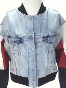 LEVI'S Premium Denim Bomber Blue/Red/White Jacket Snap Up Women's S Super RARE