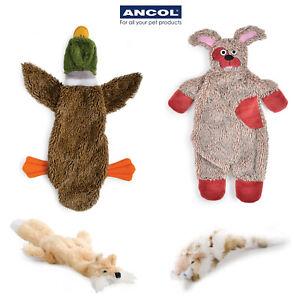 Ancol Stuffing Free Floppet Flattie Fox Leopard Duck Dog Puppy Toy Squeak Teddy