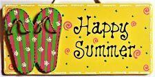Flip Flops Happy Summer Sign Wall Hanging Plaque Home Deck Backyard Porch Pool