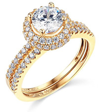 3.00 Ct Round Cut Engagement Wedding Ring Set Real 14K Yellow Gold Matching Band