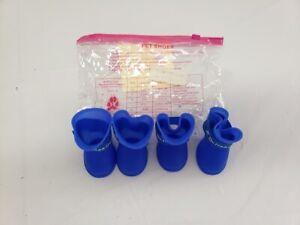 Ha Guai Guai Blue Waterproof Rubber Anti Slip Dog Boots Shoes New Size Medium