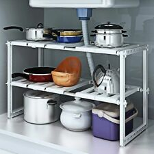 2-Tier Under Sink Rack Adjustable Shelf Storage Organizer Kitchen Bath Holder US