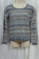 Hippie Rose Sweater L Navy Combo Fair Isle Striped Scoop Neck Acylic Sweater