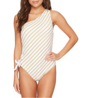 Lauren Ralph Lauren White Gold Lurex Asymmetrical One Piece Swimsuit Sz 12 6720