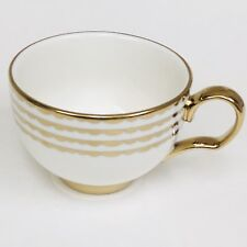 NICOLE MILLER Home Porcelain White with Metallic Gold Curvy Lines Tea Cup Mug