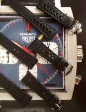 22mm perforata Heuer Nero Pelle Watch Strap & Buckle Monaco CORFAM