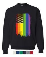Distressed Gay Pride Rainbow Flag Sweatshirt LGBTQ Love Wins
