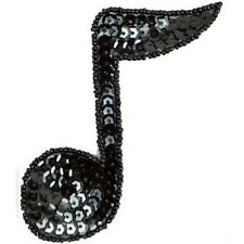 MUSIC EIGHTH NOTE SEQUIN BEADED APPLIQUE DANCE PATCH MOTIF FIFTIES JB141