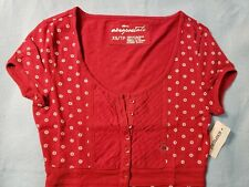 NEW Aeropostale Juniors Red & White Dots Top Shirt 9 Button front X-Small XS