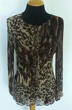 Women's CAbi Brown Beige Leopard Animal Print Sheer Crinkle Blouse Top Sz M