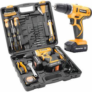 47Pcs 12V Cordless Drill Driver Set Household Hand Tool Kit w/ 2 Batteries