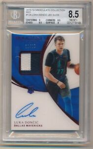 LUKA DONCIC 2018/19 IMMACULATE COLLECTION RC RED AUTO PATCH SP #11/25 BGS 8.5 10