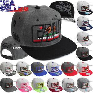 Baseball Cap California Republic Snapback Hat Adjustable CALI Bear Flat Bill Men