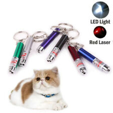 New 2 in1 Red Laser Pointer Pen Led Light 1mw Lazer Keychain Keyring Cat Dog Toy