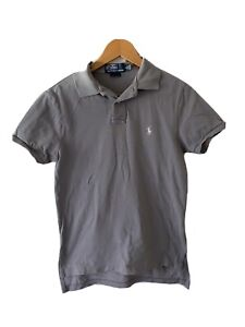 Ralph Lauren Grey Cotton Polo Shirt Size S Custom Fit White Pony