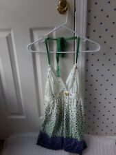 Miss Chevious Baby Doll Floral Blue Green Summer Halter Top Size Medium *FLAW