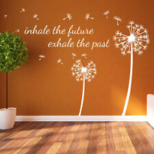 Dandelion Floral Inhale The Future Decal Wall Stickers Decor Flower Art A361 Pink Large Set From Right to Left