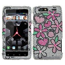 For Motorola DROID RAZR MAXX Crystal BLING Case Phone Cover Fantastic Flowers