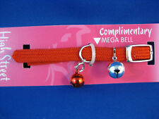 Cat Collar High Street Braided Elastic Safety Stretch - RED with matching Bell