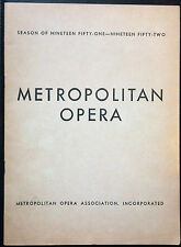 Metropolitan Opera Assoc. Program 1951 - 1952 Vintage Advertising Cadillac Buick