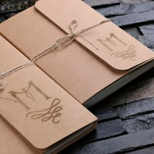 Personalised 2pc Craft Journal Notebook Diary with Twine -Add a monogram or logo