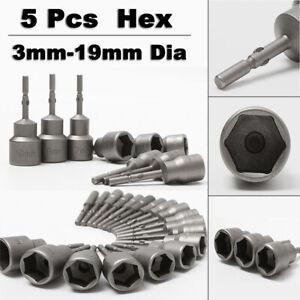 5 Pcs 3mm-19mm Hex Drive Electric Socket Bit Set Screw Nut Bolt Impact Drill Bit