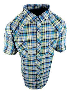 Plaid Western Shirt Mens Short Sleeve Snap Up Pockets New Colors 3XL 4XL 5XL b