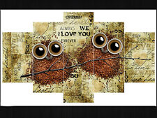 Modern Abstract Oil Painting Wall Decor Art Huge -  Creative coffee owl Couple