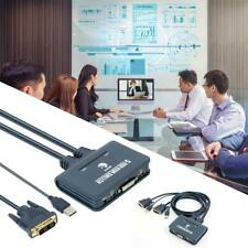 2 Port USB 2 In 1 Out Dvi Kvm Switcher Switch Box With Audio Video Cable