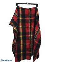 Canon Mills Vintage Throw Camp  Blanket Plaid Design Red Yellow Gray In EUC