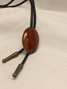 Agate 1.25 inches conversion Bolo Tie Gold Color mount Black leather Cord
