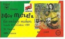RARE / TICKET BILLET DE CONCERT - ZIGGY MARLEY LIVE A PARIS ( FRANCE ) 1989 BOB