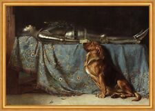 Requiescat Briton Riviere Ritter Rüstung Tod Hund Wache Tiere Treu B A2 00898