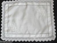 Vintage white linen cloth with crochet edge and white hand embroidery.