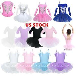 US Kids Girls Gymnastics Ballet Leotard Dress Dance Tutu Skirt Dancewear Costume