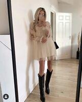 Zara Ecru Cream Beige Pleated Ruffled Mini Dress Tulle Knit Bloggers Fave Uk S