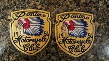 (2)1956 PONTIAC MOTORCYCLE CLUB INDIAN CHIEF HOT ROD BIKER VEST PATCHES