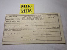 VINTAGE 1943 WWII SUGAR PURCHASE CERTIFICATE RATION PAPER 15 LBS HOME FRONT