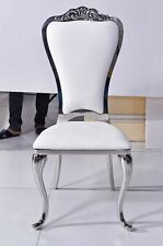 Royal Leather Dining Table Chair - White Leather
