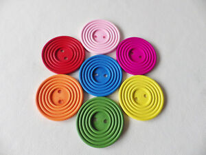 """3 pcs Wooden 60mm (2 3/8"""") Round Sew On Buttons 2 hole card making  7 colours"""
