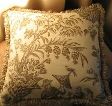 Designer fabric throw pillow with brush fringe handmade new