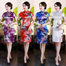 Short Sleeves Silk Satin Cheongsam Chinese Women's Dress Tight Qipao Size S-6XL